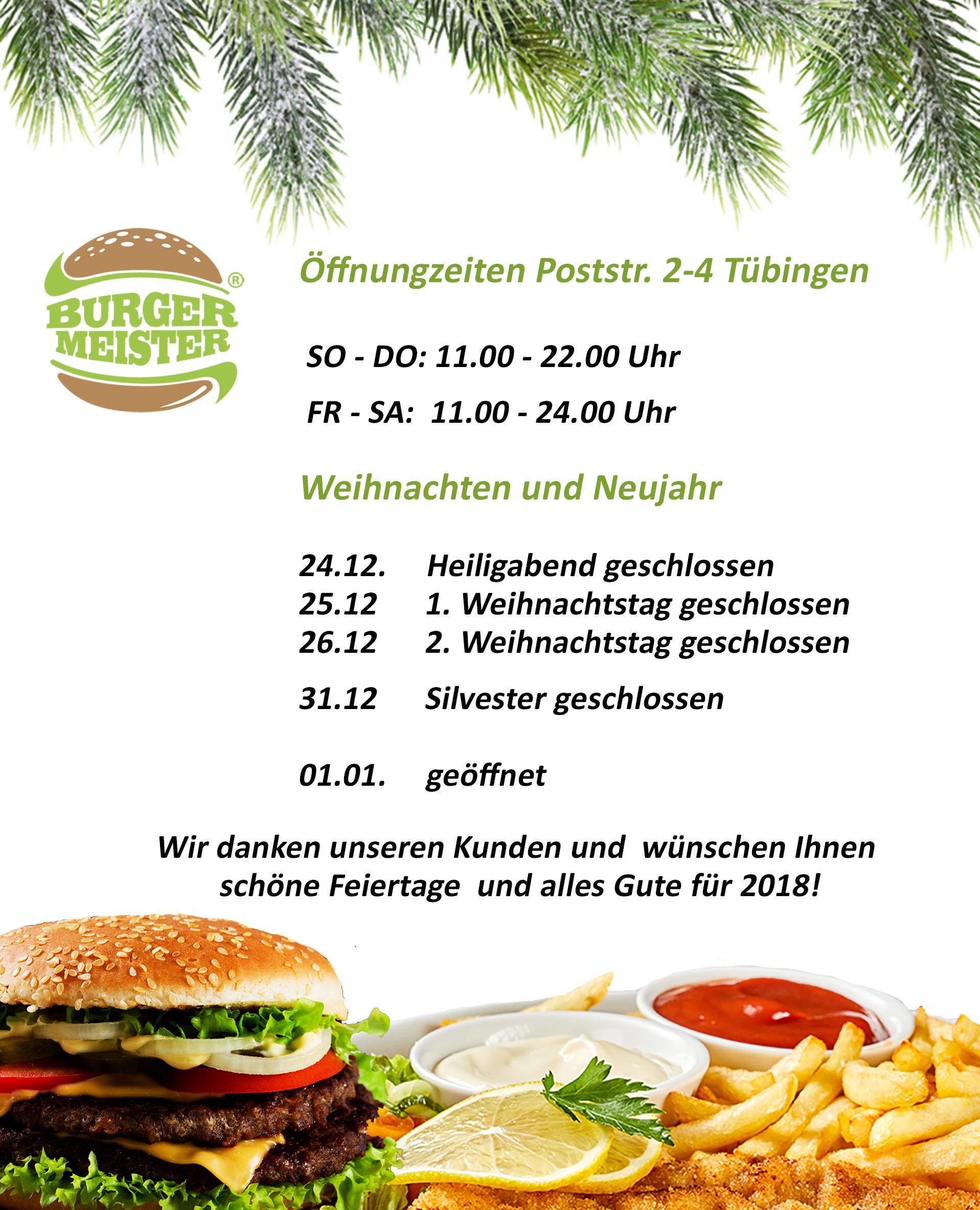 Öffnungszeiten Postr. 2-4, Tü über die Feiertage - Burgermeister ...